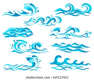 Decorative blue sea waves and surf icons with curls of powerful water stream, splashes and white foam caps. May be used in nature, marine journey or travel theme
