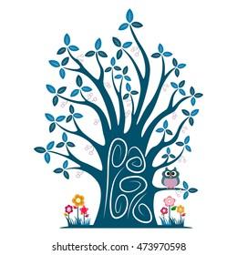 Decorative blue tree silhouette vector illustration
