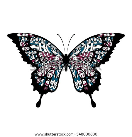Decorative Boho Butterfly Tattoo Indian Cherokee Stock Vektorgrafik