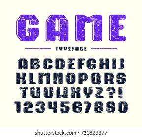 Decorative bold sanserif font with rounded corners. Letters and numbers with rough texture