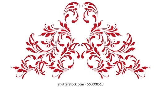 Decorative border in Eastern style. Floral swirls and flowers.