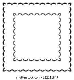 Decorative border frame. Vector square border frame. Abstract black and white geometric ornament.