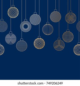 Decorative border made of golden Christmas ball toys hanging on blue background