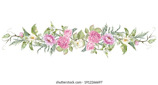 Decorative border with rose, peony and jasmine flowers. Vector wreath with pink flowers and green leaves.