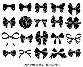 Decorative bow silhouette. Gift wrapping favor ribbon, black jubilee bows stencil. Christmas, anniversary or valentine day packaging ribbons, party decor bow. Isolated vector icons set