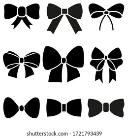 Decorative bows vector icon set. bow illustration sign collection. ribbon symbol. accessory logo.