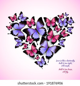 Decorative bright blue purple red trendy butterflies heart shape design pattern vector illustration