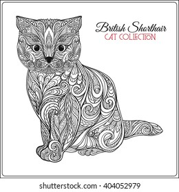 Decorative british shorthair Cat. Vector illustration. This illustration can be used as a greeting card or as a print on T-shirts and bags.