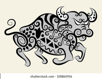 Decorative buffalo. bull and flora ornaments, leaf, flower, nature decoration for tattoo design