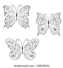 decorative butterflies set  isolated on white background. Vector illustration