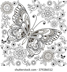 Decorative butterfly with floral ornament for anti Stresa Coloring.