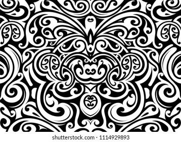 Decorative butterfly ornament in Maori ethnic style