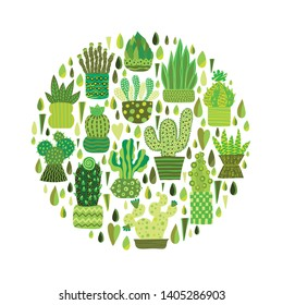 Decorative cacti and succulents. Cute vector postcard.