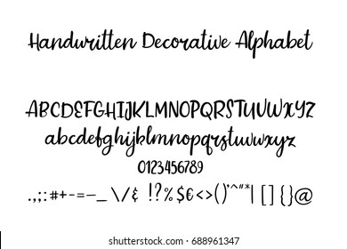 Decorative calligraphic alphabet. Handwritten brush letters. Uppercase, lowercase. Hand drawn ABC for your Designs: wallpaper, pattern, poster, postcard, logo, wedding invitation. Vector Illustrations
