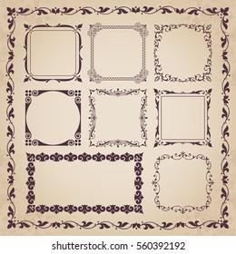 Decorative calligraphic frames - vintage style