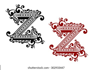 Decorative calligraphic uppercase letter Z adorned flourishes, swirls and curlicues in red and black variations for monogram or greeting card design