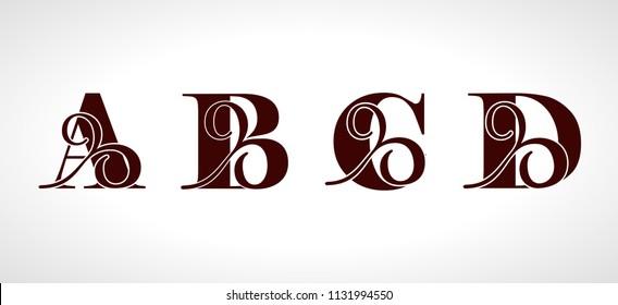 Decorative capital letters A, B, C, D for your monogram, logo, emblem. Beautiful alphabet with floral ornaments