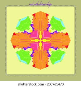 Decorative card with abstract multicolored  shape on a light yellow rounded rectangle and purple  text on a  light gray frame.