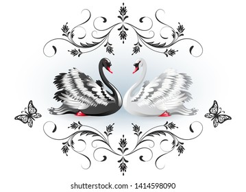 Decorative card with black and white swans and vintage luxurious ornament for invitations or congratulations with wedding or engagement