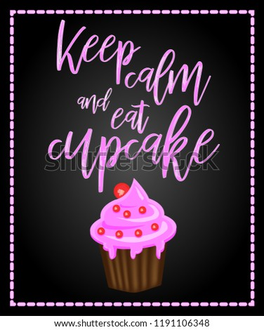 Decorative Card Cupcakes Positive Quote Keep Stock Vector Royalty