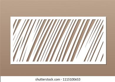 Decorative card for cutting. Geometric linear pattern. Laser cut panel. Ratio 1:2. Vector illustration.