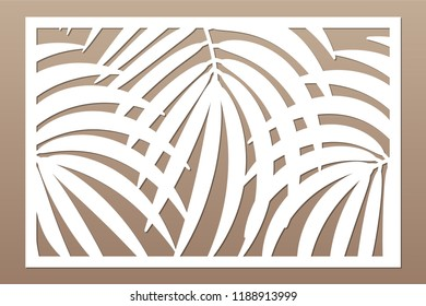 Decorative card for cutting. Leaves foliage palms fern pattern. Laser cut. Ratio 2:3. Vector illustration.