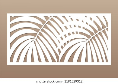 Decorative card for cutting. Leaves foliage palms fern pattern. Laser cut. Ratio 1:2. Vector illustration.