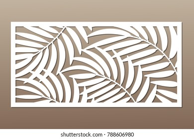 Decorative card for cutting. Palm leaf pattern. Laser cut. Ratio 1:2. Vector illustration.