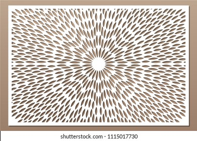 Decorative card for cutting. Scandinavian style pattern. Laser cut panel. Ratio 2:3. Vector illustration.