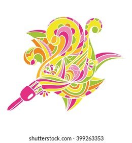 Decorative card with floral pattern. Coloring for adults. Coloring for adults.