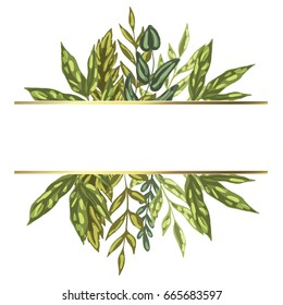 Decorative card with green detailed leaves and plants. Isolated on white background. Ready template for your design and lettering. Vector