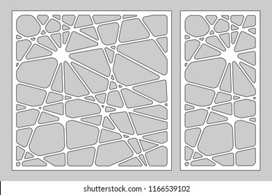 Decorative card set for cutting laser or plotter. Line art geometric pattern panel. Laser cut. Ratio 1:2, 1:1. Vector illustration.
