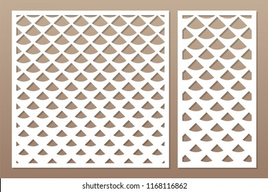 Decorative card set for cutting laser or plotter. Diagonal square pattern panel. Laser cut. Ratio 1:1; 1:2. Vector illustration.