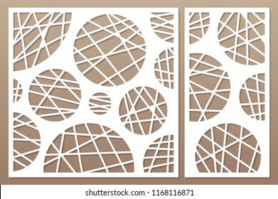 Decorative card set for cutting laser or plotter. geometric art circle pattern panel. Laser cut. Ratio 1:2, 1:1. Vector illustration.