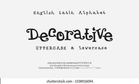 Decorative cartoon vector alphabet. Funny curly font, uppercase and lowercase letters, numbers, signs. Cute serif typeface for Christmas, kids design