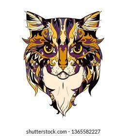 Decorative cat face. Doodle cat head. Ornamental animal.