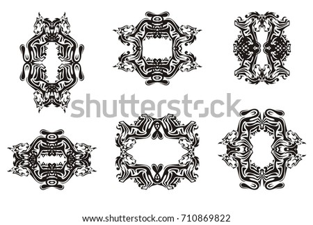 Decorative Cat Frames Tribal Set Frames Stock Vector (Royalty Free ...