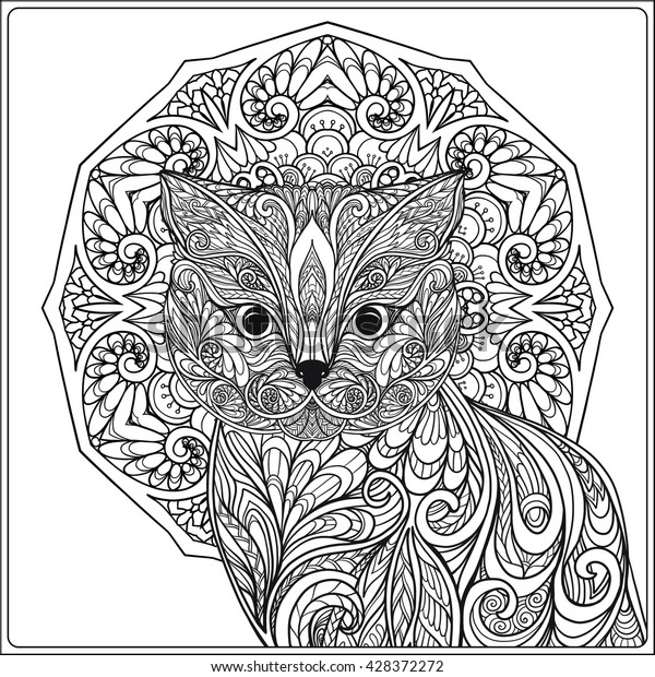Image Vectorielle De Stock De Chat Decoratif Avec Mandala