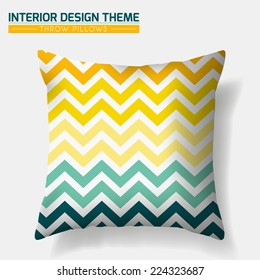 Decorative Cheerful Zig Zag Throw Pillow design template. Original pattern is complete masked. Modern interior design element. Creative Sofa Toss Pillow. Vector design is layered, editable