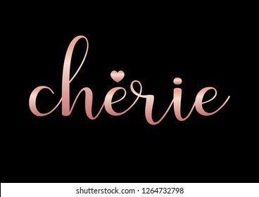 "Decorative ""Cherie"" (Sweetheart in French) Text"