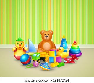 Decorative children toys icons set kid play room background vector illustration