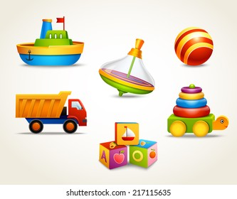 Decorative children toys set of ship ball truck isolated vector illustration
