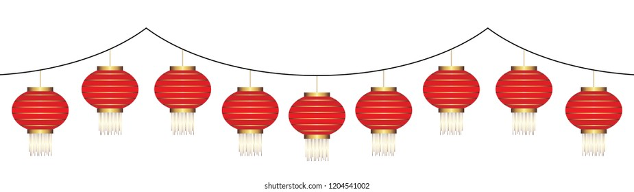 decorative chinese red lantern garland isolated on white background