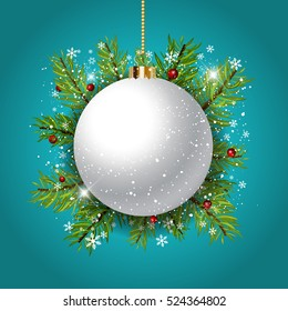 Decorative Christmas background with bauble against fir tree branches