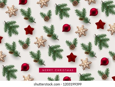 Decorative Christmas Background with Festive Elements