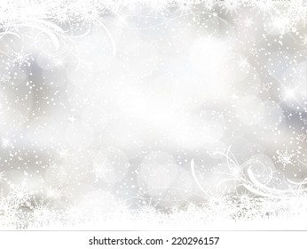 Decorative Christmas background with snowflake design and bokeh lights