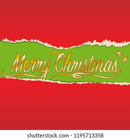 Decorative Christmas background with torn paper using as card
