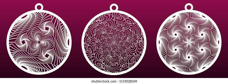 Decorative Christmas balls, set of templates for laser cutting. Abstract pattern. Paper art or metal cut, fretwork stencil or die. Vector illustration