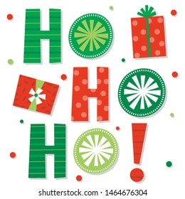 Decorative Christmas design Ho ho ho letter with red and green color