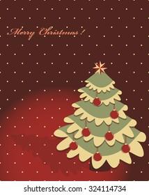 Decorative Christmas tree, Christmas balls. Vector greeting card